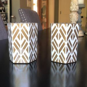 Two Gold & White Glass Candle Holders